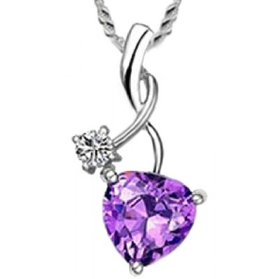 Exquisite Faux Amethyst Rhinestone Heart Shape Necklace For Women