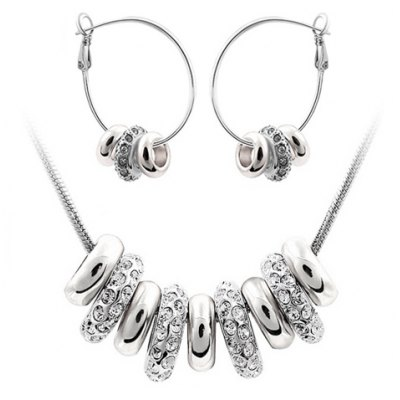 A Suit of Exquisite Rhinestone Circular Ring Necklace and Earrings For Women