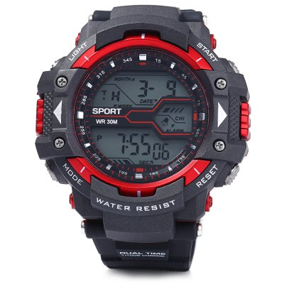 8338G Multifunctional Men LED Sports Watch Digital WristwatchSports Watches<br>8338G Multifunctional Men LED Sports Watch Digital Wristwatch<br><br>People: Male table<br>Watch style: Outdoor Sports,LED<br>Available color: Black,Red,Blue,Green,Gold<br>Shape of the dial: Round<br>Movement type: Digital watch<br>Display type: Digital<br>Case material: PC<br>Band material: Rubber<br>Clasp type: Pin buckle<br>Special features: EL Back-light,Alarm Clock,Day,Date,Stopwatch<br>Water resistance : 30 meters<br>The dial thickness: 1.5 cm / 0.59 inches<br>The dial diameter: 5.0 cm / 1.97 inches<br>The band width: 2.2 cm / 0.86 inches<br>Wearable length: 17 - 22.5 cm / 6.69 - 8.86 inches<br>Product weight: 0.063 kg<br>Package weight: 0.113 kg<br>Product size (L x W x H): 26.5 x 5 x 1.5 cm / 10.41 x 1.97 x 0.59 inches<br>Package size (L x W x H): 27.5 x 6 x 2.5 cm / 10.81 x 2.36 x 0.98 inches<br>Package Contents: 1 x 8338G Watch