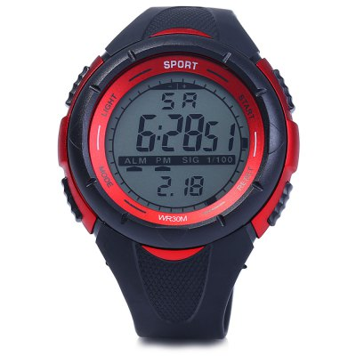 8333G Day Date Alarm Stopwatch Men LED Sports WatchSports Watches<br>8333G Day Date Alarm Stopwatch Men LED Sports Watch<br><br>Available Color: Black,Blue,Orange,Red,White<br>Band material: Rubber<br>Case material: PC<br>Clasp type: Pin buckle<br>Display type: Digital<br>Movement type: Digital watch<br>Package Contents: 1 x 8333G Watch<br>Package size (L x W x H): 26.00 x 6.00 x 2.30 cm / 10.24 x 2.36 x 0.91 inches<br>Package weight: 0.1050 kg<br>People: Male table<br>Product size (L x W x H): 25.00 x 5.00 x 1.30 cm / 9.84 x 1.97 x 0.51 inches<br>Product weight: 0.0550 kg<br>Shape of the dial: Round<br>Special features: Alarm Clock, Day, Stopwatch, EL Back-light, Date<br>The band width: 2.0 cm / 0.79 inches<br>The dial diameter: 5.0 cm / 1.97 inches<br>The dial thickness: 1.3 cm / 0.51 inches<br>Watch style: Outdoor Sports, LED<br>Water resistance : 30 meters