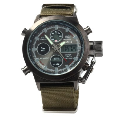 AMST AM3003 Dual Movt Men LED Sports WatchSports Watches<br>AMST AM3003 Dual Movt Men LED Sports Watch<br><br>Brand: AMST<br>People: Male table<br>Watch style: Outdoor Sports,LED<br>Available color: Black,Green,Silver<br>Shape of the dial: Round<br>Movement type: Double-movtz<br>Display type: Analog-Digital<br>Hour formats: 12/24 Hour<br>Case material: Stainless Steel<br>Band material: Canvas<br>Clasp type: Pin buckle<br>Special features: EL Back-light,Alarm Clock,Day,Date,Stopwatch<br>Water resistance : 100 meters<br>The dial thickness: 1.4 cm / 0.55 inches<br>The dial diameter: 5.3 cm / 2.08 inches<br>The band width: 2.2 cm / 0.86 inches<br>Wearable length: 15.5 - 22 cm / 6.1 - 8.66 inches<br>Product weight: 0.094 kg<br>Package weight: 0.144 kg<br>Product size (L x W x H): 25 x 5.3 x 1.4 cm / 9.83 x 2.08 x 0.55 inches<br>Package size (L x W x H): 26 x 6.3 x 2.4 cm / 10.22 x 2.48 x 0.94 inches<br>Package Contents: 1 x AMST AM3003 Watch, 1 x Chinese and English Manual