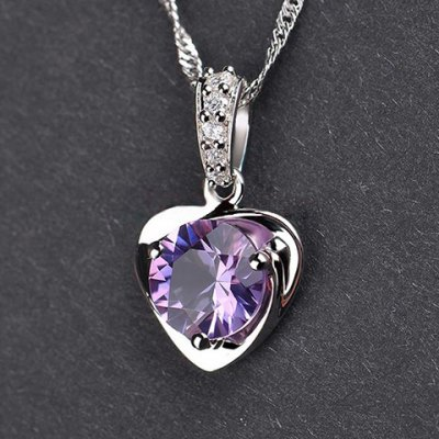 Exquisite Faux Amethyst Rhinestone Heart Shape Pendant For Women