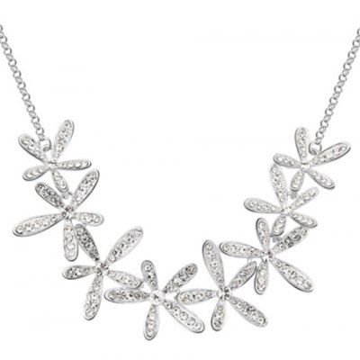 Фотография A Suit of Exquisite Rhinestoned Blossom Shape Necklace and Earrings For Women