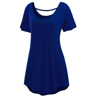 Chic Scoop Neck Short Sleeve Pure Color Cut Out Womens T-ShirtWomens T-Shirts<br>Chic Scoop Neck Short Sleeve Pure Color Cut Out Womens T-Shirt<br><br>Material: Polyester<br>Clothing Length: Long<br>Sleeve Length: Short<br>Collar: Scoop Neck<br>Style: Fashion<br>Season: Summer<br>Pattern Type: Solid<br>Weight: 0.234KG<br>Package Contents: 1 x T-Shirt