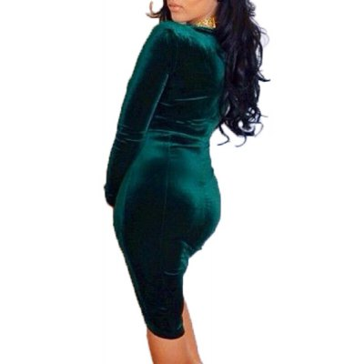 Fashionable Plunging Neck Solid Color Velour Bodycon Dress For WomenWomens Dresses<br>Fashionable Plunging Neck Solid Color Velour Bodycon Dress For Women<br><br>Style: Brief<br>Material: Polyester<br>Fabric Type: Velour<br>Silhouette: Asymmetrical<br>Dresses Length: Knee-Length<br>Neckline: Plunging Neck<br>Sleeve Length: Long Sleeves<br>Pattern Type: Solid<br>With Belt: No<br>Season: Summer<br>Weight: 0.390KG<br>Package Contents: 1 x Dress