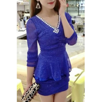 Elegant V-Neck Diamante Long Sleeve Dress For WomenWomens Dresses<br>Elegant V-Neck Diamante Long Sleeve Dress For Women<br><br>Style: Brief<br>Material: Cotton Blend<br>Silhouette: Sheath<br>Dresses Length: Mini<br>Neckline: V-Neck<br>Sleeve Length: Long Sleeves<br>Pattern Type: Solid<br>With Belt: No<br>Season: Fall<br>Weight: 0.230KG<br>Package Contents: 1 x Dress