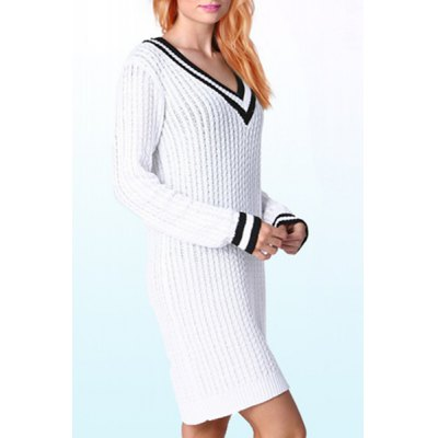 Sailor Style Striped V-Neck Long Sleeve Mini Sweater Dress For WomenWomens Dresses<br>Sailor Style Striped V-Neck Long Sleeve Mini Sweater Dress For Women<br><br>Style: Casual<br>Material: Polyester<br>Silhouette: Sheath<br>Dresses Length: Mini<br>Neckline: V-Neck<br>Sleeve Length: Long Sleeves<br>Pattern Type: Others<br>With Belt: No<br>Season: Fall<br>Weight: 0.47KG<br>Package Contents: 1 x Dress