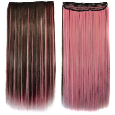 Stunning Long Glossy Straight Synthetic Vogue Pink Highlight Clip-In Hair Extension For Women