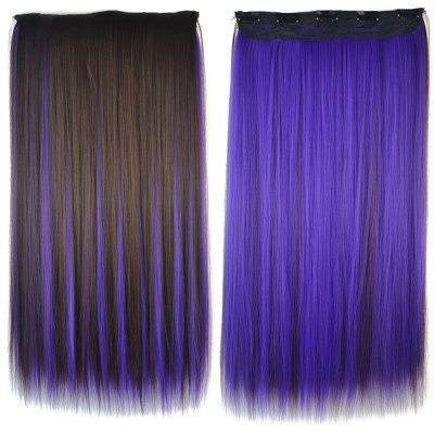 Fashion Purple Highlight Synthetic Stunning Long Silky Straight Clip In Hair Extension For Women