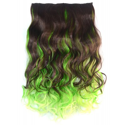 Mixed Color Synthetic Long Clip In Fluffy Curly Hair Extension