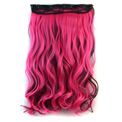 Trendy Long Deep Brown Mixed Pink Synthetic Shaggy Curly Clip In Hair Extension For Women