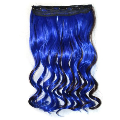 Fashion Deep Brown Mixed Royalblue Synthetic Fluffy Curly Long Hair Extension For Women