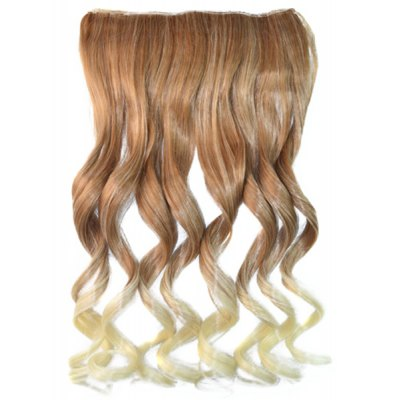 Shaggy Curly Long Synthetic Fashion Brown Ombre Blonde Clip In Women's Hair Extension
