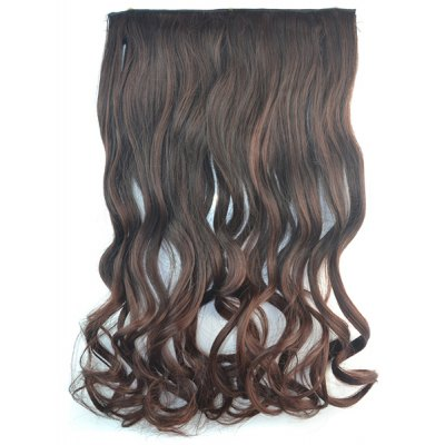 Fashion Long Brown Ombre Graceful Shaggy Curly Synthetic Clip In Hair Extension For Women
