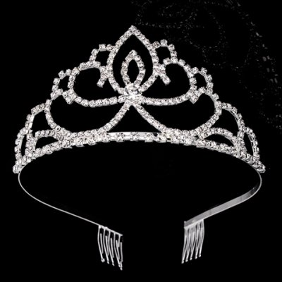 Charming Rhinestoned Water Drop Hollow Out Crown For Women