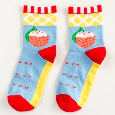Pair of Chic Cartoon Litchi and Rhombus Pattern Socks For WomenWomens Socks &amp; Hosieries<br>Pair of Chic Cartoon Litchi and Rhombus Pattern Socks For Women<br><br>Type: Socks<br>Group: Adult<br>Gender: For Women<br>Style: Fashion<br>Pattern Type: Others<br>Material: Spandex<br>Weight: 0.083KG<br>Package Contents: 1 x Socks (Pair)