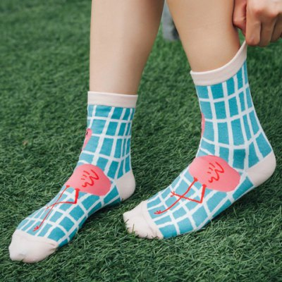 Pair of Chic Cartoon Flamingo and Gingham Pattern Socks For Women
