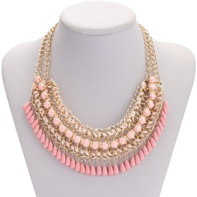 Retro Crystal Water Droplet Weave Necklace for Ladies