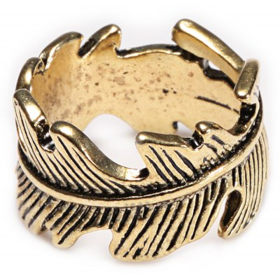 Retro Style Leaf Feather Alloy Ring for Women