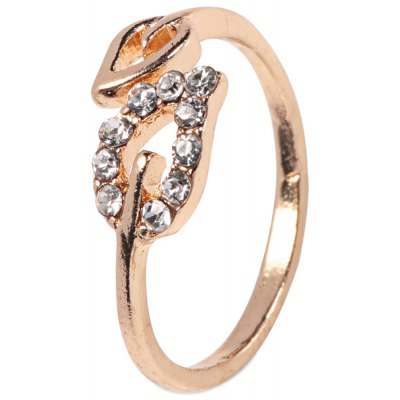Fashionable Adjustable Rhinestone Ring with Couple Leaves for Ladies