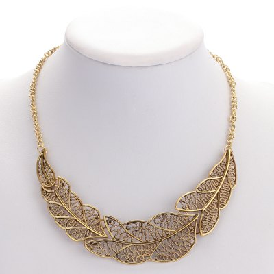 Fashionable Hollow Leaf Alloy Necklace for Ladies