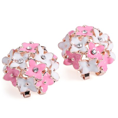 Han Edition Trendy Four Leaf Shaped Jewel Encrusted Ear Stud for Ladies