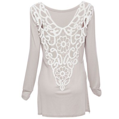Sexy Scoop Collar Long Sleeve Lace Work Color Block Women T-ShirtWomens T-Shirts<br>Sexy Scoop Collar Long Sleeve Lace Work Color Block Women T-Shirt<br><br>Material: Lace,Polyester<br>Fabric Type: Broadcloth<br>Clothing Length: Long<br>Sleeve Length: Full<br>Collar: Scoop Neck<br>Style: Fashion<br>Pattern Type: Patchwork<br>Elasticity: Micro-elastic<br>Weight: 0.250KG<br>Package Contents: 1 x T-Shirt