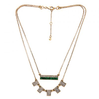 Graceful Double-Layered Rhinestone Geometric Necklace For Women