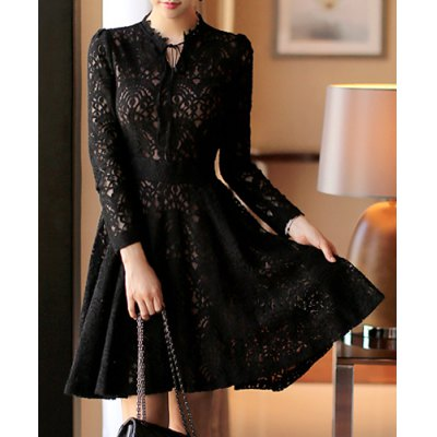 Attractive Black V-Neck See-Through Cut Out High Waist Dress For Women
