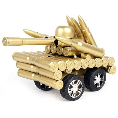 Cartridge Case Tank Military Style Four Wheel without Track for Collection Decoration