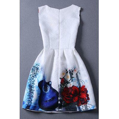Vintage Round Collar Violin Print Sleeveless Dress For Women