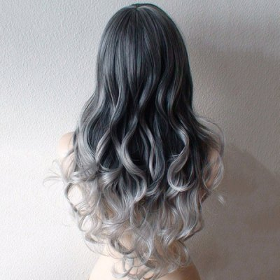 Ladylike Side Bang Heat Resistant Synthetic Capless Long Wavy Ombre Wig For Women