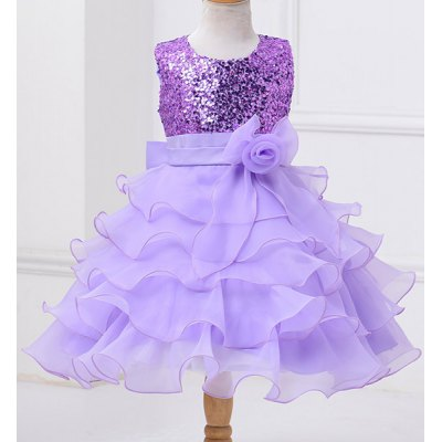 Fashionable Sleeveless Multilayered Flower Spliced Sequins Embellish Mini Ball Gown Dress For Girl
