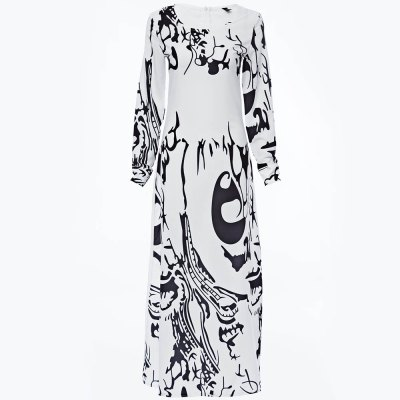 Round Collar Long Sleeve Printed Women Maxi Party Dress