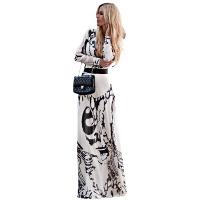 Vintage Round Collar Long Sleeve Printed Women Maxi Party Dress