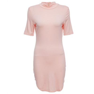 Stand Collar Short Sleeve Pure Color Bodycon Women Mini Dress