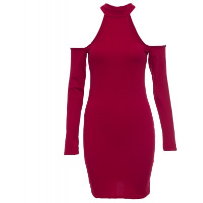 Jewel Collar Long Sleeve Hollow Out Solid Color Bodycon Women Midi Dress