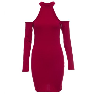 Trendy Jewel Collar Long Sleeve Hollow Out Solid Color Bodycon Women Midi Dress