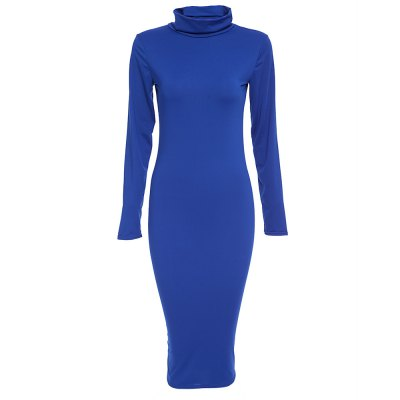 Stand Collar Long Sleeve Pure Color Skinny Women Midi Dress