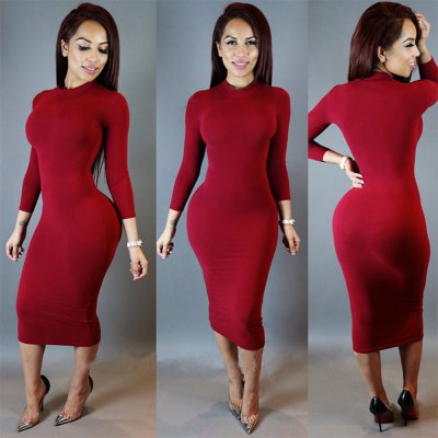 Simple Stand Collar Long Sleeve Pure Color Skinny Women Midi Dress