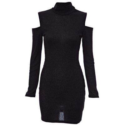 Stand Collar Long Sleeve Cut Out Pure Color Bodycon Ladies Dress