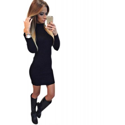Stand Collar Long Sleeve Cut Out Pure Color Bodycon Women Dress