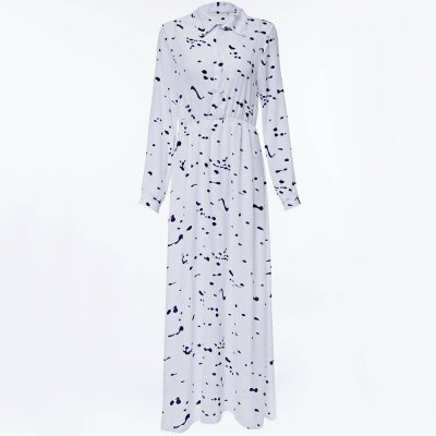 Stylish Turn Collar Long Sleeve Printed A-Line Women Maxi Shirt Dress