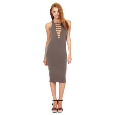 Halter Sleeveless Lace Up Pure Color Bodycon Women Midi Dress