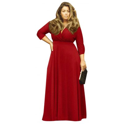Sexy Women Plunging Neckline 3/4 Sleeve Plus Size Solid Color Dress