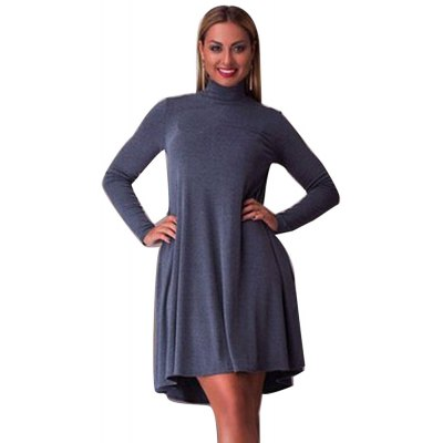 Stand Collar Solid Color Long Sleeve Pleated Women Dress