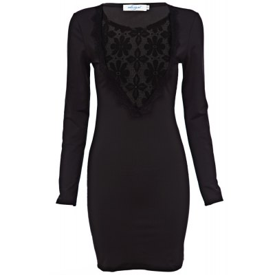 Jewel Collar Long Sleeve Lace Work Pure Color Bodycon Women Midi Dress