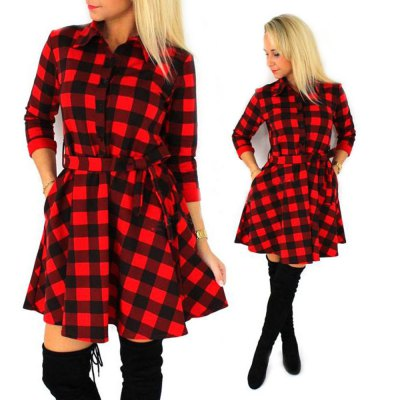 Stylish Shirt Collar 3/4 Sleeve Plaid Print A-Line Bowknot Design Women Shirt Dress
