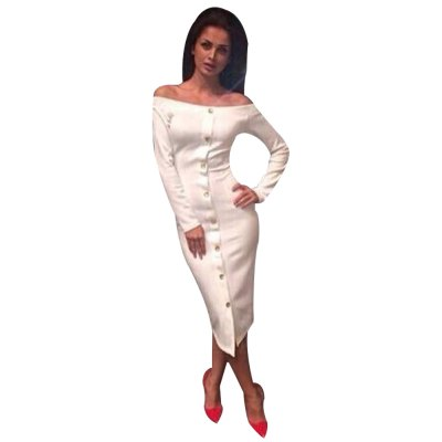 Sexy Off The Shoulder Long Sleeve Single Breasted Bodycon Women Midid Dress