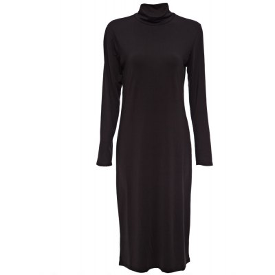 Simple Turntle Neck Long Sleeve Pure Color Bodycon Women Midi Dress